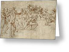 Sketch For The Lower Left Section Of The Disputa Greeting Card