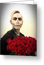 Skull Tux And Roses Greeting Card
