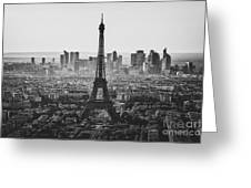 Skyline Of Paris In Black And White Greeting Card