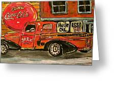 Small Town Worker Greeting Card by Michael Litvack