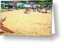 Smartphone Beach Woman Greeting Card