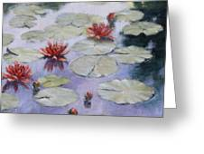 Smooth Sailing - Lilies In Monets Garden Greeting Card