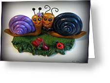 Snails In Love Greeting Card by Trina Prenzi