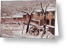 Snow On The Farmhouse Greeting Card