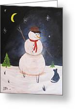 Snowman And Cat Greeting Card
