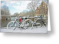 snowy Amsterdam in the Netherlands Greeting Card