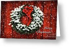 Snowy Christmas Wreath Card Greeting Card