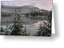 Snowy Green Lake Sunset Whistler B.c Canada Greeting Card