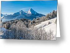 Snowy Church In The Bavarian Alps In Winter Greeting Card
