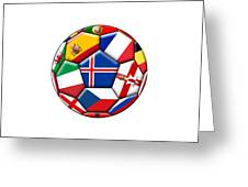 Soccer Ball With Flag Of Iceland In The Center Greeting Card