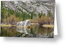 Some Beautiful Scene Of The Famous Mirror Lake Of Yosemite Greeting Card