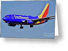 Southwest Airlines Airplane In Flight Greeting Card