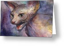 Sphynx Cat Painting Greeting Card