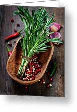 Spices On A Wooden Board Greeting Card