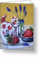 Spotted Cat With Strawberries Greeting Card