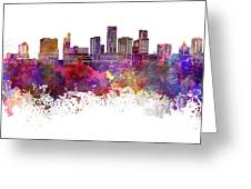 St. Paul Skyline In Watercolor Background Greeting Card