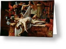 St Sebastian Thrown Into The Cloaca Maxima Greeting Card