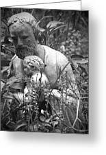 Statue In Flowers Greeting Card