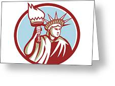 Statue Of Liberty Holding Flaming Torch Circle Retro Greeting Card