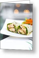 Steamed Salmon And Salad Wrap Greeting Card