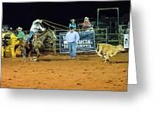 Steer Roping Greeting Card