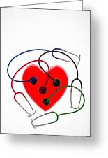 Stethoscopes And Plastic Heart Greeting Card