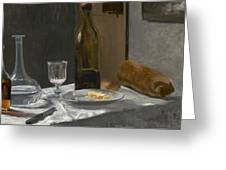 Still Life With Bottle Carafe Bread And Wine Greeting Card