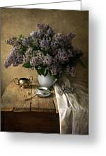 Still Life With Bouquet Of Fresh Lilacs Greeting Card
