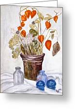 Still Life With Chinese Lanterns Greeting Card