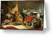 Still Life With Dead Game, A Monkey, A Parrot, And A Dog Greeting Card