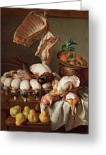 Still Life With Dressed Game, Meat And Fruit Greeting Card