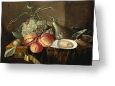 Still Life With Fruit And Oysters On A Table Greeting Card