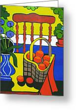 Still Life With Red Chair And Oranges Greeting Card