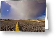Storm And Rainbow Along The Highway Greeting Card