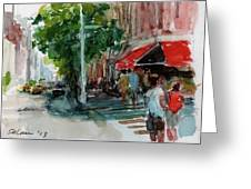 Streetscape With Red Awning - 82nd Street Market Greeting Card