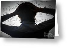 Student Holding His Head Looking At Complex Math Formulas On Whiteboard Greeting Card
