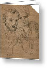 Studies Of Two Male Heads Greeting Card