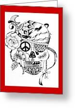 Sugar Skull #3  War And Peace Greeting Card