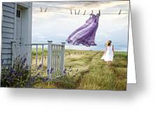 Summer Dress Blowing On Clothesline With Girl Walking Down Path Greeting Card