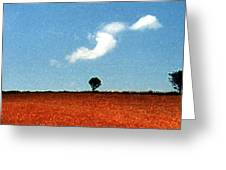 Summer Field With Two Trees 2 Ae2 Greeting Card