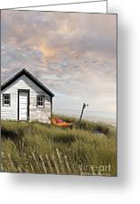 Summer Shack With Hammock By The Ocean Greeting Card