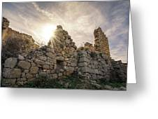 Sun Shining Through A Derelict Building At Occi In Corsica Greeting Card