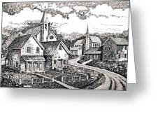 Sunday Houses Along Old Church Street Greeting Card