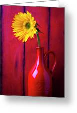 Sunflower In Red Pitcher Greeting Card
