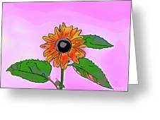 Illustration Of A Sunflower On A Pink Background Greeting Card