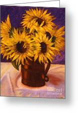 Sunflowers In A Copper Can Greeting Card
