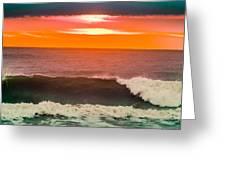Sunrise Kissing Surf Greeting Card