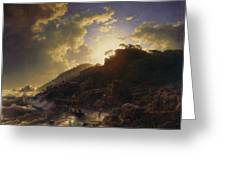Sunset After A Storm On The Coast Of Sicily Greeting Card