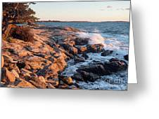 Sunset At Ocean Point, East Boothbay, Maine  -230204 Greeting Card