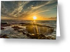 Sunset At Thor's Well Greeting Card